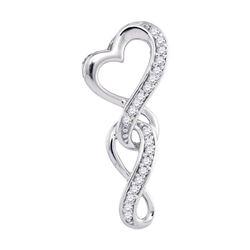 1/20 CTW Round Diamond Heart Infinity Pendant 10kt White Gold - REF-7R5H