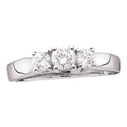 1/2 CTW Round Diamond 3-stone Bridal Wedding Engagement Ring 14kt White Gold - REF-47A9N
