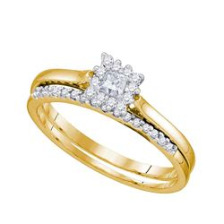 1/4 CTW Princess Diamond Halo Bridal Wedding Engagement Ring 10kt Yellow Gold - REF-30K3R