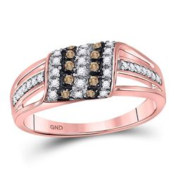 1/4 CTW Round Brown Diamond Ring 10kt Rose Gold - REF-18F3M