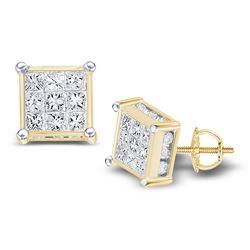 1 CTW Princess Diamond Cluster Stud Earrings 14kt Yellow Gold - REF-54T3K