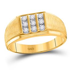 1/4 CTW Mens Round Diamond Cluster Ring 10kt Yellow Gold - REF-26R3H