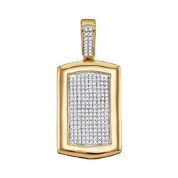 1/2 CTW Mens Round Diamond Dog Tag Cluster Charm Pendant 10kt Yellow Gold - REF-45M3A