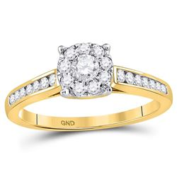 1/2 CTW Round Diamond Solitaire Bridal Wedding Engagement Ring 14kt Yellow Gold - REF-47F9M