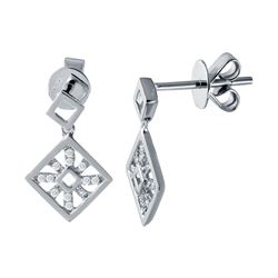 0.12 CTW Diamond Earrings 14K White Gold - REF-17M3F