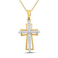1/4 CTW Round Diamond Cross Outline Religious Pendant 10kt Yellow Gold - REF-13R2H