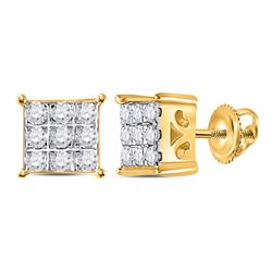 1/6 CTW Round Diamond Square Cluster Earrings 10kt Yellow Gold - REF-11T9K