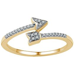 1/12 CTW Round Diamond Bisected Arrow Ring 10kt Yellow Gold - REF-10K8R