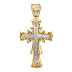 3/4 CTW Mens Round Diamond Scalloped Cross Charm Pendant 10kt Yellow Gold - REF-93W5F