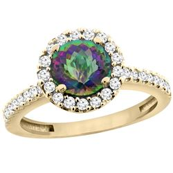 1.38 CTW Mystic Topaz & Diamond Ring 14K Yellow Gold - REF-60M8A
