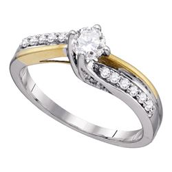 1/2 CTW Round Diamond Solitaire 2-Tone Bridal Wedding Engagement Ring 14kt White Gold - REF-63T5K