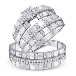 5/8 CTW His & Hers Round Diamond Cluster Matching Bridal Wedding Ring 10kt White Gold - REF-39A6N