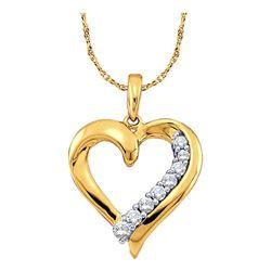 1/4 CTW Round Diamond Heart Pendant 10kt Yellow Gold - REF-19T2K