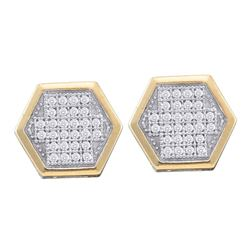 1/5 CTW Round Diamond Hexagon Cluster Earrings 10kt Yellow Gold - REF-21X5T