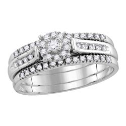 1/4 CTW Round Diamond 3-Piece Bridal Wedding Engagement Ring 14kt White Gold - REF-45R6H