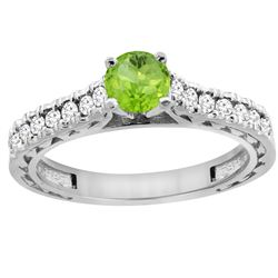 0.75 CTW Peridot & Diamond Ring 14K White Gold - REF-62K3W