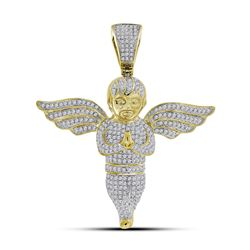 1 & 1/2 CTW Mens Round Diamond Angel Charm Pendant 10kt Yellow Gold - REF-95N9Y