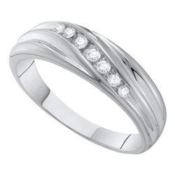 1/6 CTW Mens Round Diamond Wedding Ring 10kt White Gold - REF-19T2K