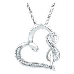 1/8 CTW Round Diamond Heart Infinity Pendant 10kt White Gold - REF-18X3T