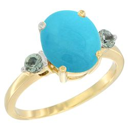 2.64 CTW Turquoise & Green Sapphire Ring 14K Yellow Gold - REF-38M2K