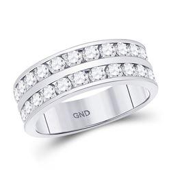 2 CTW Mens Round Diamond Double Row Wedding Ring 14kt White Gold - REF-179K9R