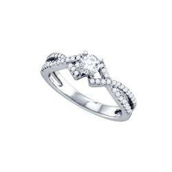 1/3 CTW Round Diamond Solitaire Bridal Wedding Engagement Ring 14kt White Gold - REF-90W3F