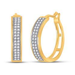 1/5 CTW Round Diamond Hoop Earrings 10kt Yellow Gold - REF-16N8Y