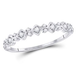 1/6 CTW Round Diamond Stackable Ring 10kt White Gold - REF-13W2F