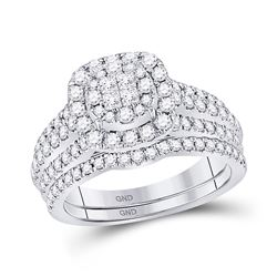 1 CTW Princess Diamond Bridal Wedding Engagement Ring 14kt White Gold - REF-101T9K