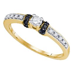 1/4 CTW Round Diamond Solitaire Bridal Wedding Engagement Ring 10kt Yellow Gold - REF-18X3T