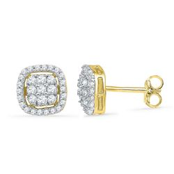 1/2 CTW Round Diamond Square Cluster Earrings 10kt Yellow Gold - REF-27F5M