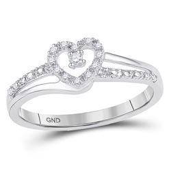 1/20 CTW Round Diamond Heart Promise Bridal Ring 10kt White Gold - REF-10T8K