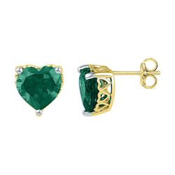 5 & 1/2 CTW Heart Lab-Created Emerald Heart Stud Earrings 10kt Yellow Gold - REF-16X8T