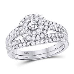 1 CTW Round Diamond Bridal Wedding Engagement Ring 14kt White Gold - REF-71N9Y