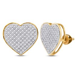 1/2 CTW Round Diamond Heart Earrings 10kt Yellow Gold - REF-30A3N
