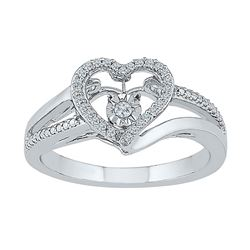 1/10 CTW Round Diamond Heart Moving Twinkle Ring 10kt White Gold - REF-20R3H