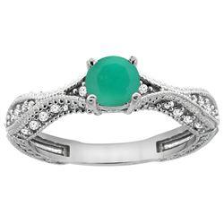 0.76 CTW Emerald & Diamond Ring 14K White Gold - REF-68H9M