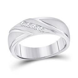 1/4 CTW Mens Round Channel-set Diamond Wedding Anniversary Ring 10kt White Gold - REF-47F9M