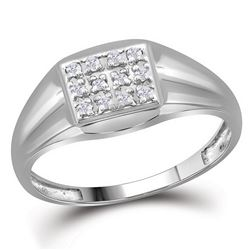1/8 CTW Mens Round Diamond Square Cluster Ring 10kt White Gold - REF-11Y9X