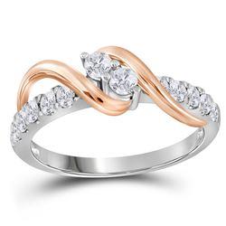 1/2 CTW Round Diamond 2-stone Bridal Wedding Engagement Ring 14kt Two-tone Gold - REF-45Y3X