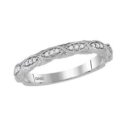 1/10 CTW Round Diamond Stackable Ring 10kt White Gold - REF-15M5A
