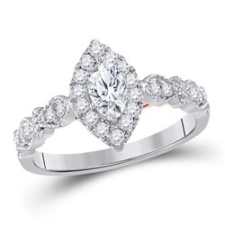 3/4 CTW Marquise Diamond Solitaire Bridal Wedding Engagement Ring 14kt Two-tone Gold - REF-96A3N