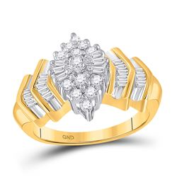 1/2 CTW Round Diamond Cluster Baguette Accent Ring 10kt Yellow Gold - REF-33A6N