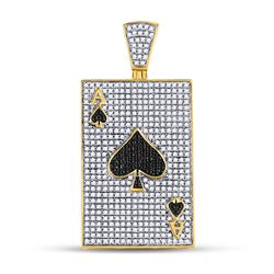 1 & 3/8 CTW Mens Round Black Color Enhanced Diamond Ace Spades Card Pendant 10kt Yellow Gold - REF-7
