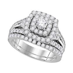 1 & 7/8 CTW Round Diamond Halo Bridal Wedding Engagement Ring 14kt White Gold - REF-149F9M