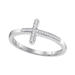 1/20 CTW Round Diamond Cross Religious Ring 10kt White Gold - REF-10A2N