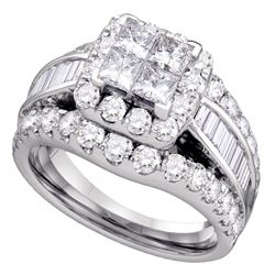 3 CTW Princess Diamond Halo Cluster Bridal Wedding Engagement Ring 14kt White Gold - REF-239R9H
