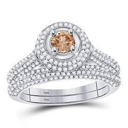 1 & 1/4 CTW Brown Round Diamond Solitaire Bridal Wedding Engagement Size 8 Set 14kt White Gold - REF