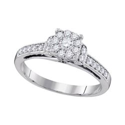 1/2 CTW Round Diamond Cluster Bridal Wedding Engagement Ring 10kt White Gold - REF-39H3W