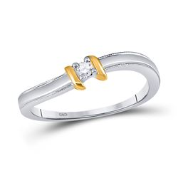 1/20 CTW Round Diamond Solitaire Promise Bridal Ring 10kt Two-tone Gold - REF-9M3A